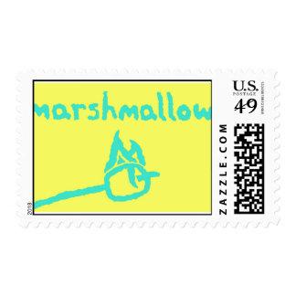 neon marshmallow postage stamp