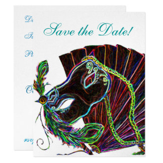 Neon Masquerade Save the Date Card