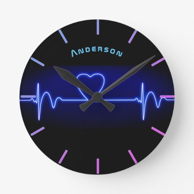Neon Medical Heart Monitor Beat Personalized Wall Round Clock