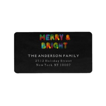 Christmas Themed Neon Merry and Bright Chalkboard address labels