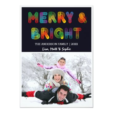 Christmas Themed Neon Merry and Bright Christmas Card