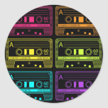 Neon Mix Tapes Classic Round Sticker