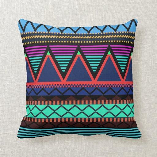 Modern Tribal Pillows : Neon Modern Tribal Pillow