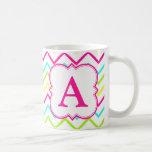 Neon Monogram Chevron Classic White Coffee Mug