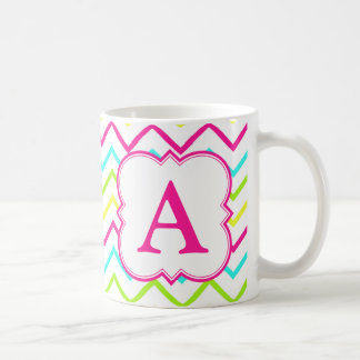 Neon Monogram Chevron Coffee Mug
