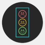 Neon Moody Stoplight Round Stickers
