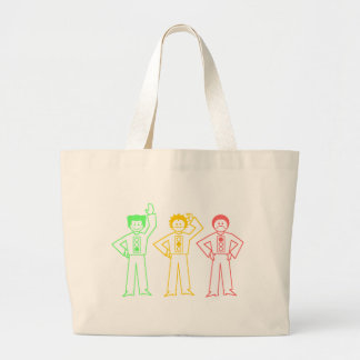 Neon Moody Stoplight Trio Characters Large Tote Bag