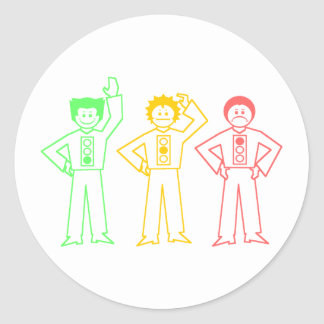 Neon Moody Stoplight Trio Characters Round Stickers