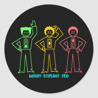 Neon Moody Stoplight Trio Characters w/ Label Round Stickers