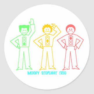 Neon Moody Stoplight Trio Characters w/ Label Stickers