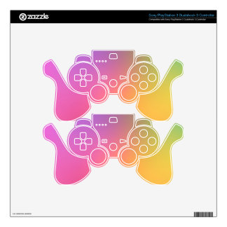 neon multi color fun girly chic glowing template PS3 controller decals