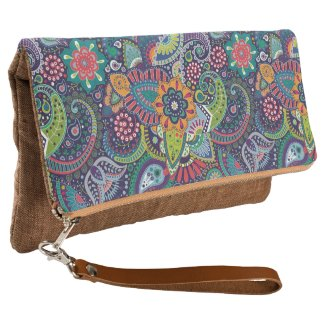 Neon Multicolor floral Paisley pattern Clutch