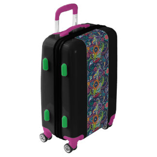 Neon Multicolor floral Paisley pattern Luggage