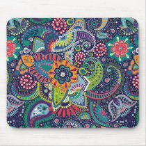 Neon Multicolor floral Paisley pattern Mouse Pad