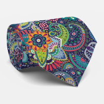 Neon Multicolor floral Paisley pattern Neck Tie