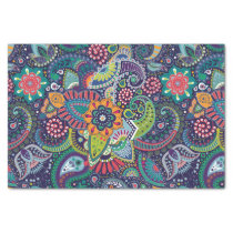Neon Multicolor floral Paisley pattern Tissue Paper