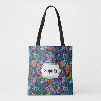 Neon Multicolor floral Paisley pattern Tote Bag