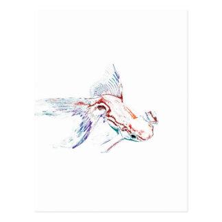 Neon Multicolor Rainbow Fish/Goldfish/Koi Postcard