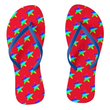 Beach Themed Neon Multicolored Stars Flip Flops