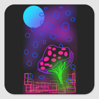 Neon Mushroom and Moon Glossy Square Stickers