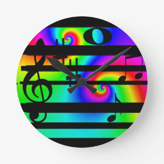 neon music note and bar clock