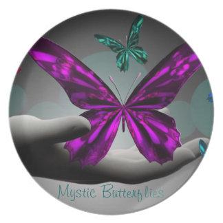 Neon Mystic Butterflies Melamine Plate