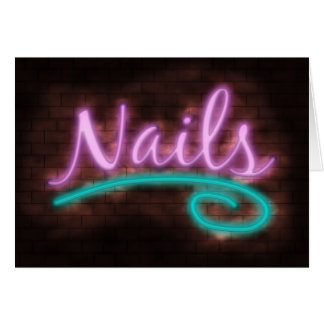 Neon Nails Sign Card