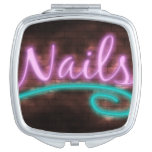 Neon Nails Sign Compact Mirror