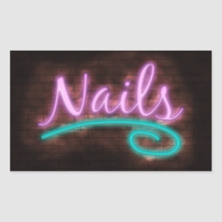 Neon Nails Sign Rectangle Stickers