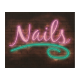 Neon Nails Sign Wood Print
