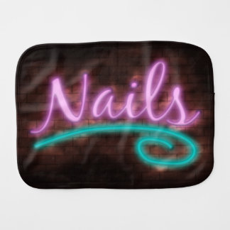 Neon Nails Sign Baby Burp Cloths