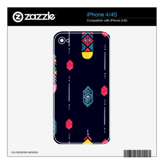 Neon Native American Feathers pattern iPhone 4S Skin