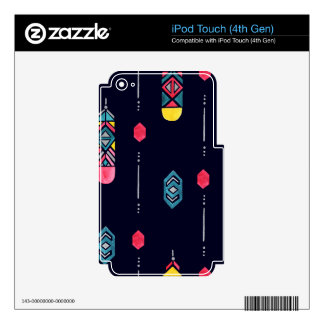 Neon Native American Feathers pattern iPod Touch 4G Decal