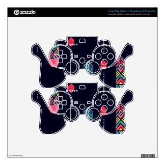 Neon Native American Feathers pattern PS3 Controller Decal