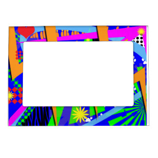 Neon Nineties Pattern Magnetic Picture Frame