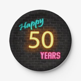 Neon number 50 sign on brick wall paper plate