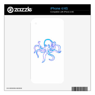 Neon Octopus Skin For iPhone 4