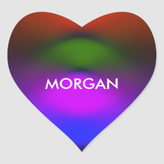 Neon of Blue, Purple, Green, Orange Heart Stickers