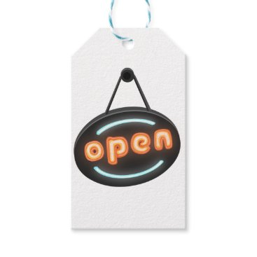 Professional Business Neon Open Sign Gift Tags