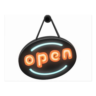 Professional Business Neon Open Sign Postcard