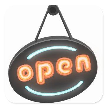 Professional Business Neon Open Sign Square Sticker