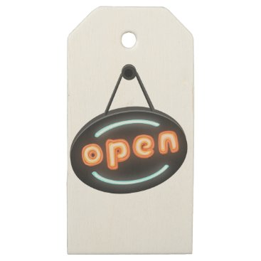 Professional Business Neon Open Sign Wooden Gift Tags