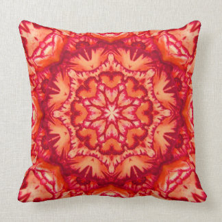 Neon Orange and Burgundy Victorian Floral Throw Pillow