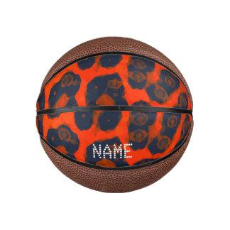 Neon Orange Black Cheetah Basketball