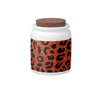 Neon orange cheetah print pattern candy dishes