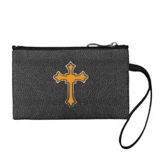 Neon Orange Cross Black Vintage Leather ImagePrint Change Purse