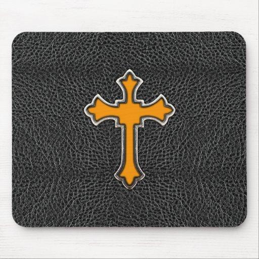Neon Orange Cross Black Vintage Leather ImagePrint Mouse Pad