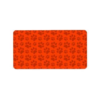 Neon orange dog paw print pattern label