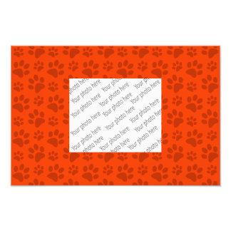 Neon orange dog paw print pattern photo print