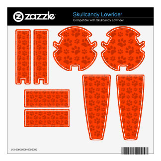 Neon orange dog paw print pattern decal for skullcandy